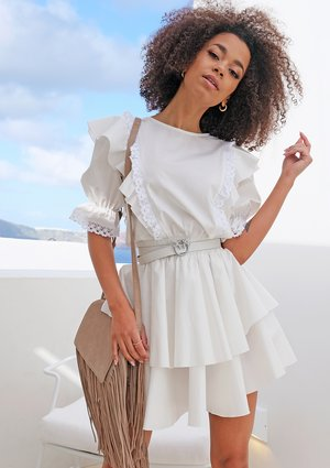 WHITE POPLIN DRESS WITH FRILLS AND LACE
