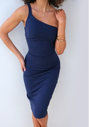 ONE SHOULDER BODYCON DRESS IN NAVY BLUE