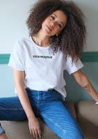 "T-shirt ""staypositive"" Biały"