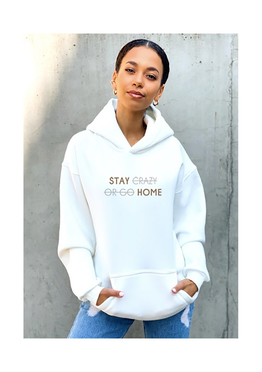 "Bluza z kapturem "" Stay Home"" Kremowa"