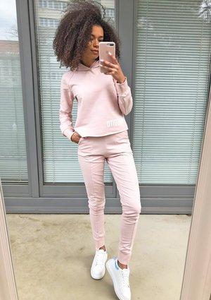 Spodnie bawełniane pastel Pudrowe ILM