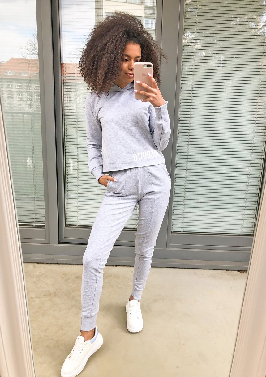 Spodnie bawełniane pastel Szare ILM