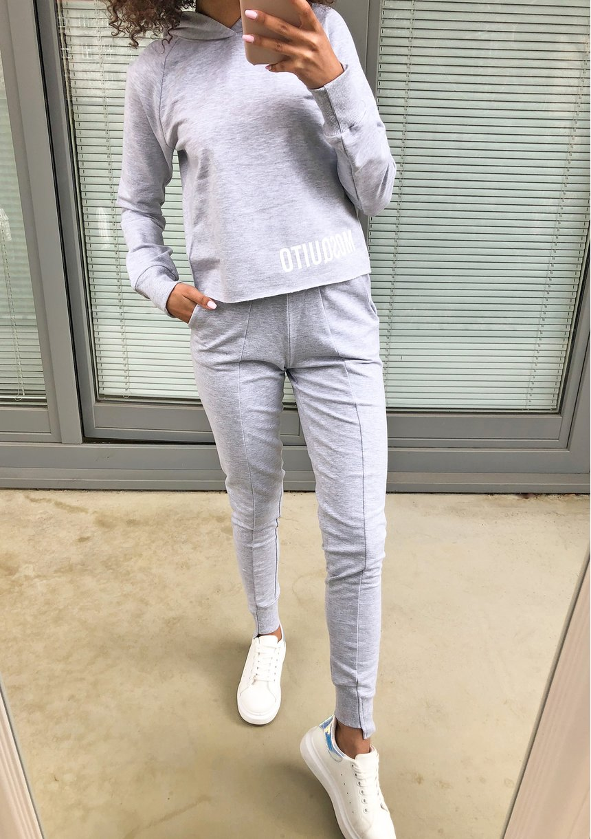 Bluza bawełniana z kapturem pastel Szara ILM