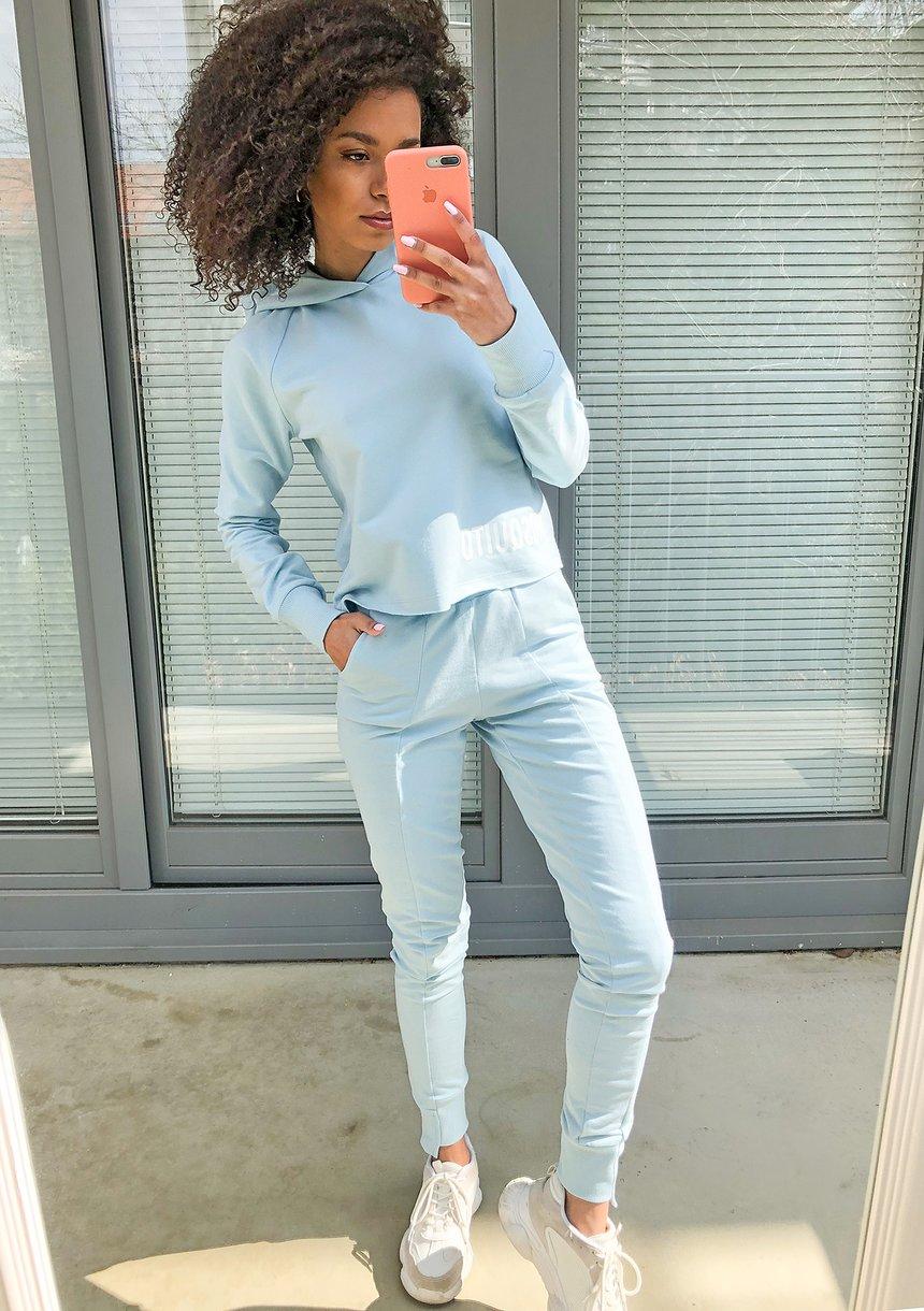 Bluza bawełniana z kapturem pestek Błękitna ILM