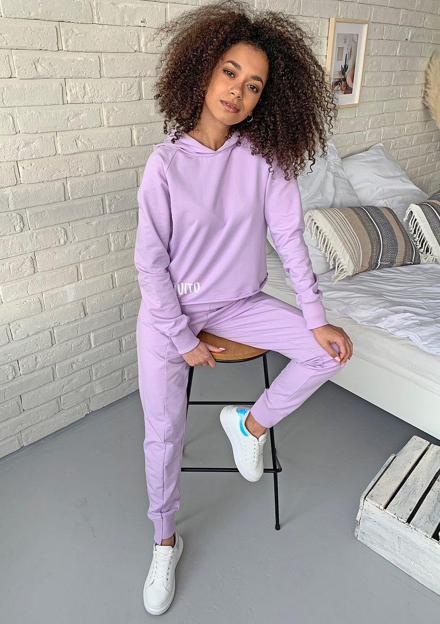 Bluza bawełniana z kapturem pastel Lila ILM