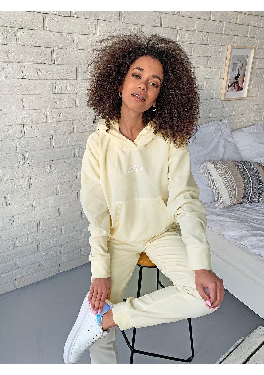 Welurowa bluza z kapturem w kolorze Bananowym ILM