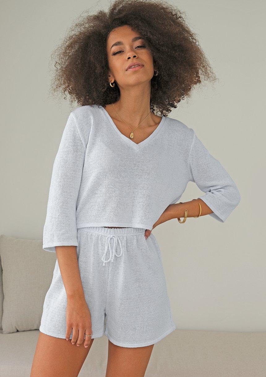 Sweter z bawełny dekolt V ILM A00