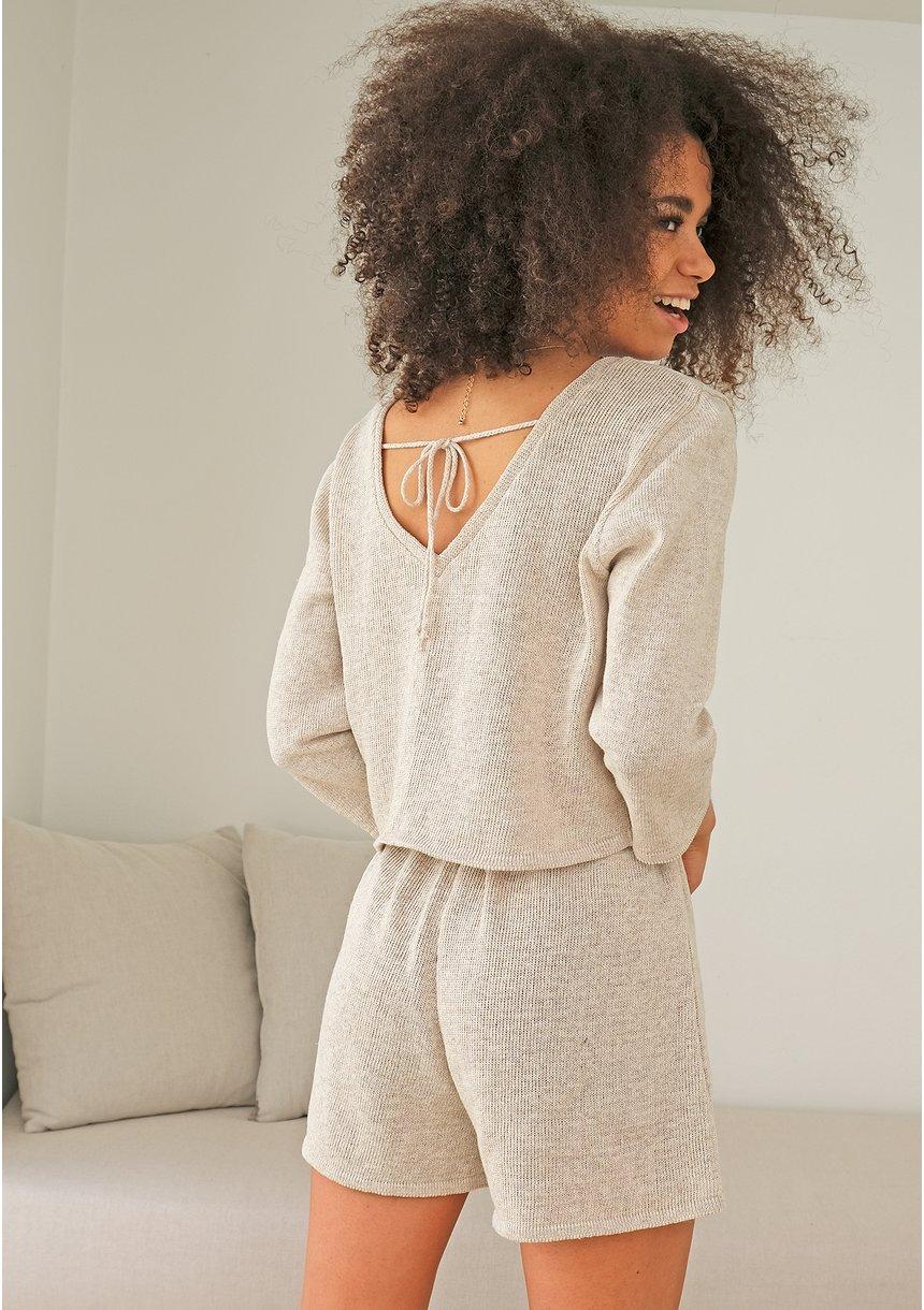 Sweter z bawełny dekolt V ILM A00 Beżowy