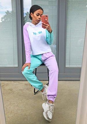 Lilac & Mint color blocks trousers ILM