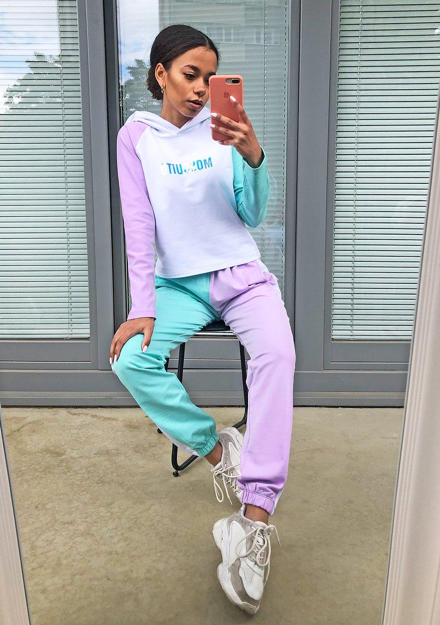 Spodnie z łączonych kolorów Miętowe ILM