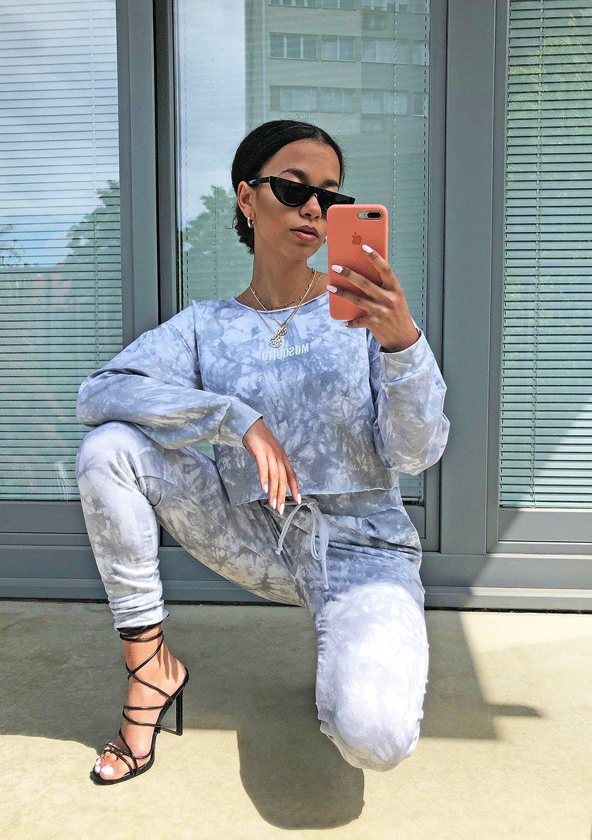 Spodnie z efektem sprania Szare ILM