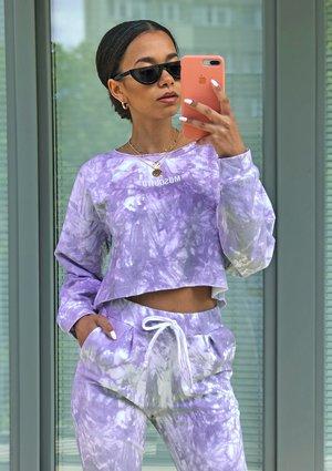 Lilac acid wash cropped sweatshirt ILM