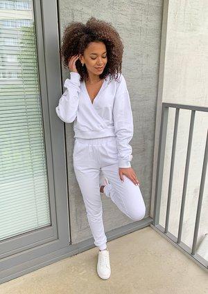 Dresowe spodnie z lampasem Białe ILM