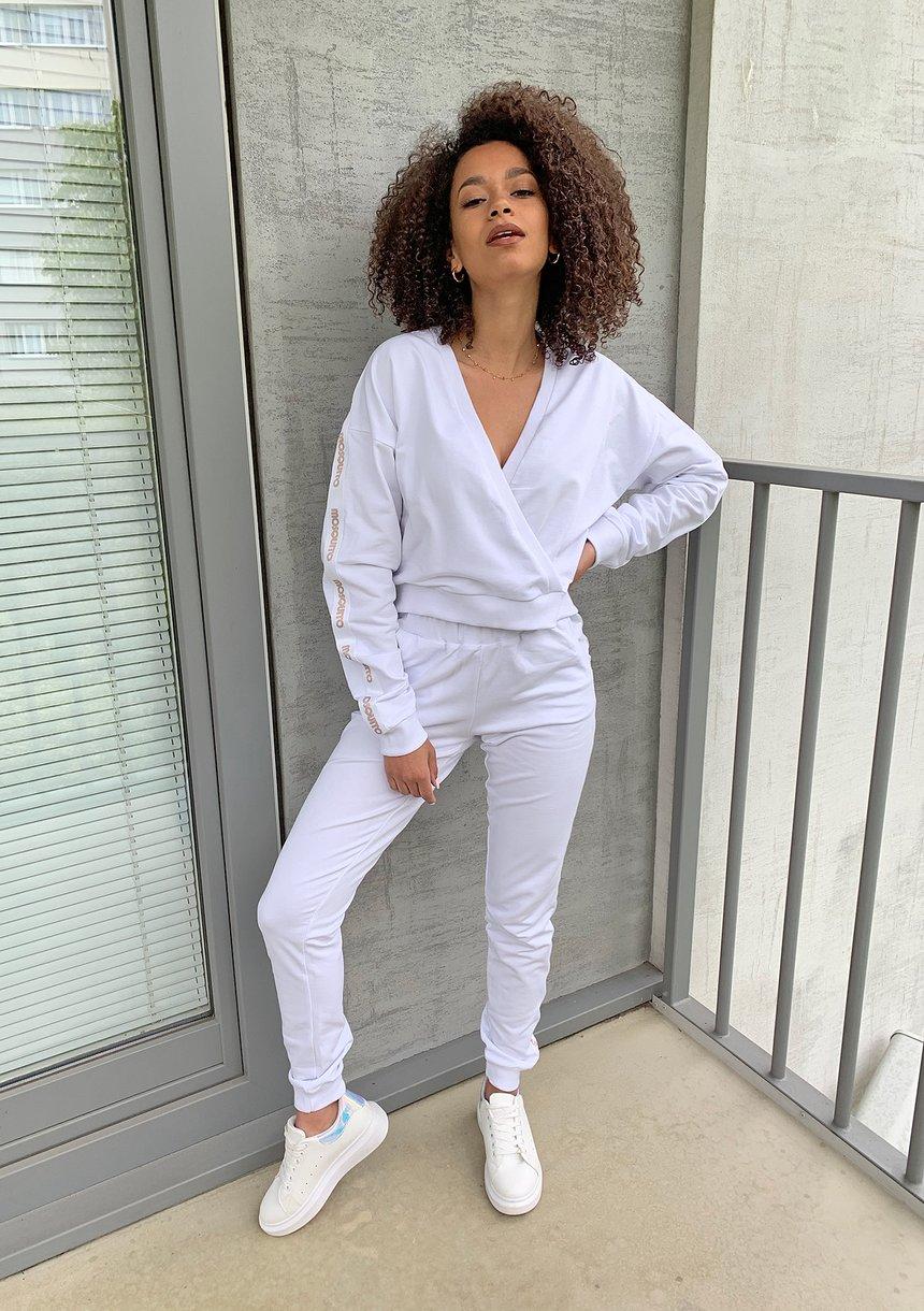 Dresowe spodnie z lampasem Białe