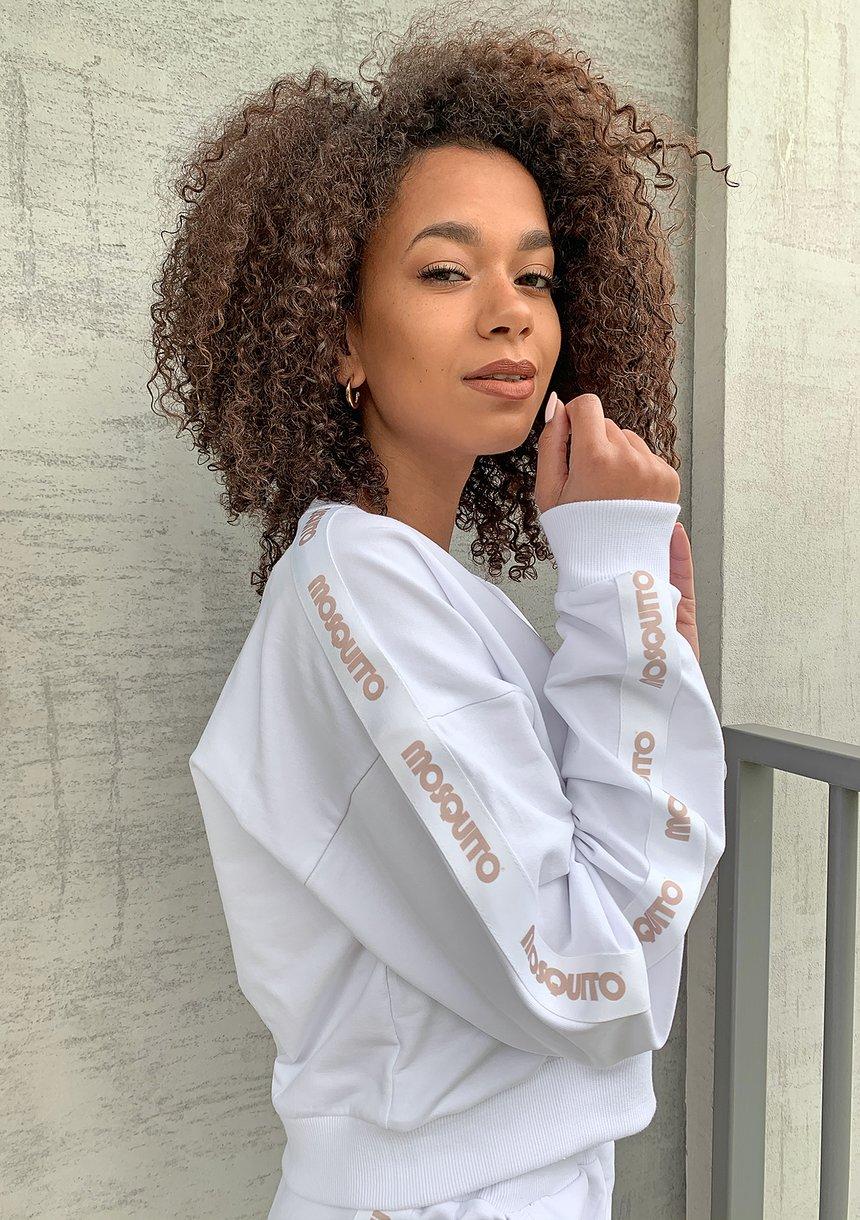 Kopertowa bluza z lampasem Biała ILM
