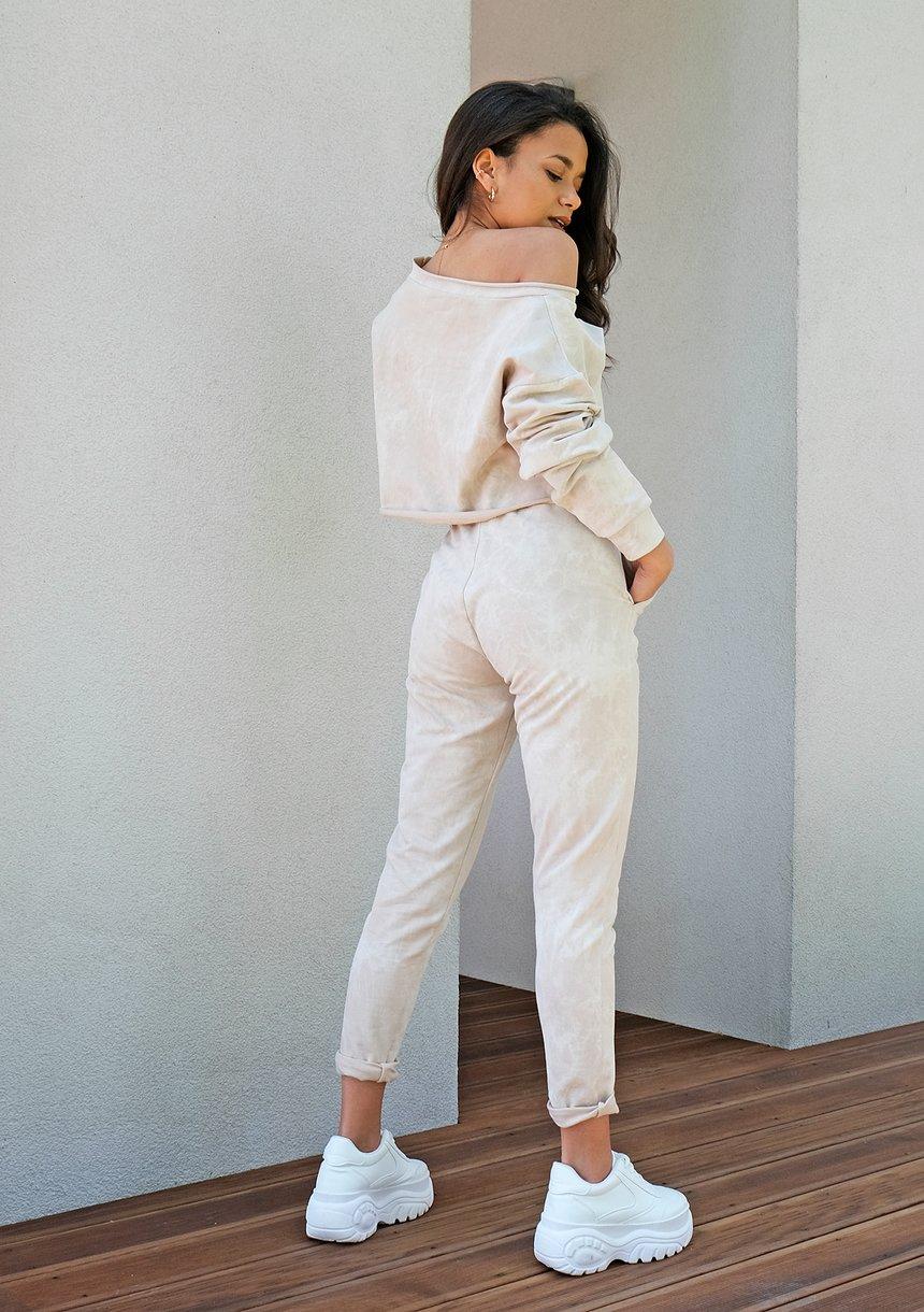 Spodnie z efektem sprania Beżowe ILM