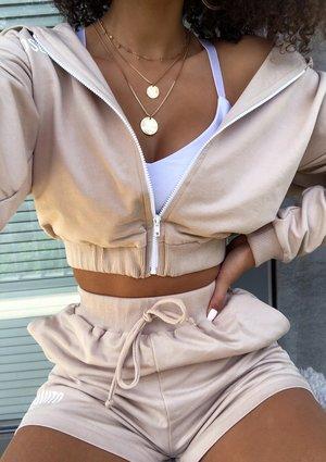Cropped zip-up hoodie in beige
