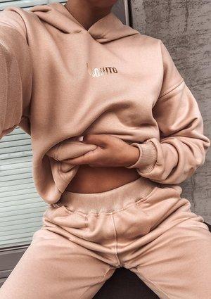 Bluza z kieszenią i kapturem Beżowa ILM