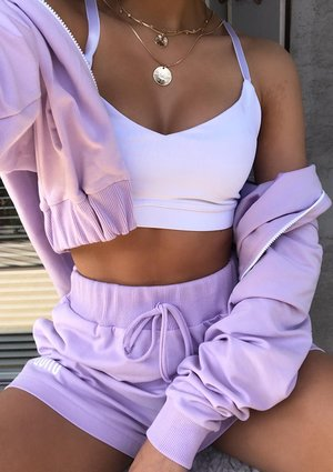 Cropped zip-up hoodie in lilac