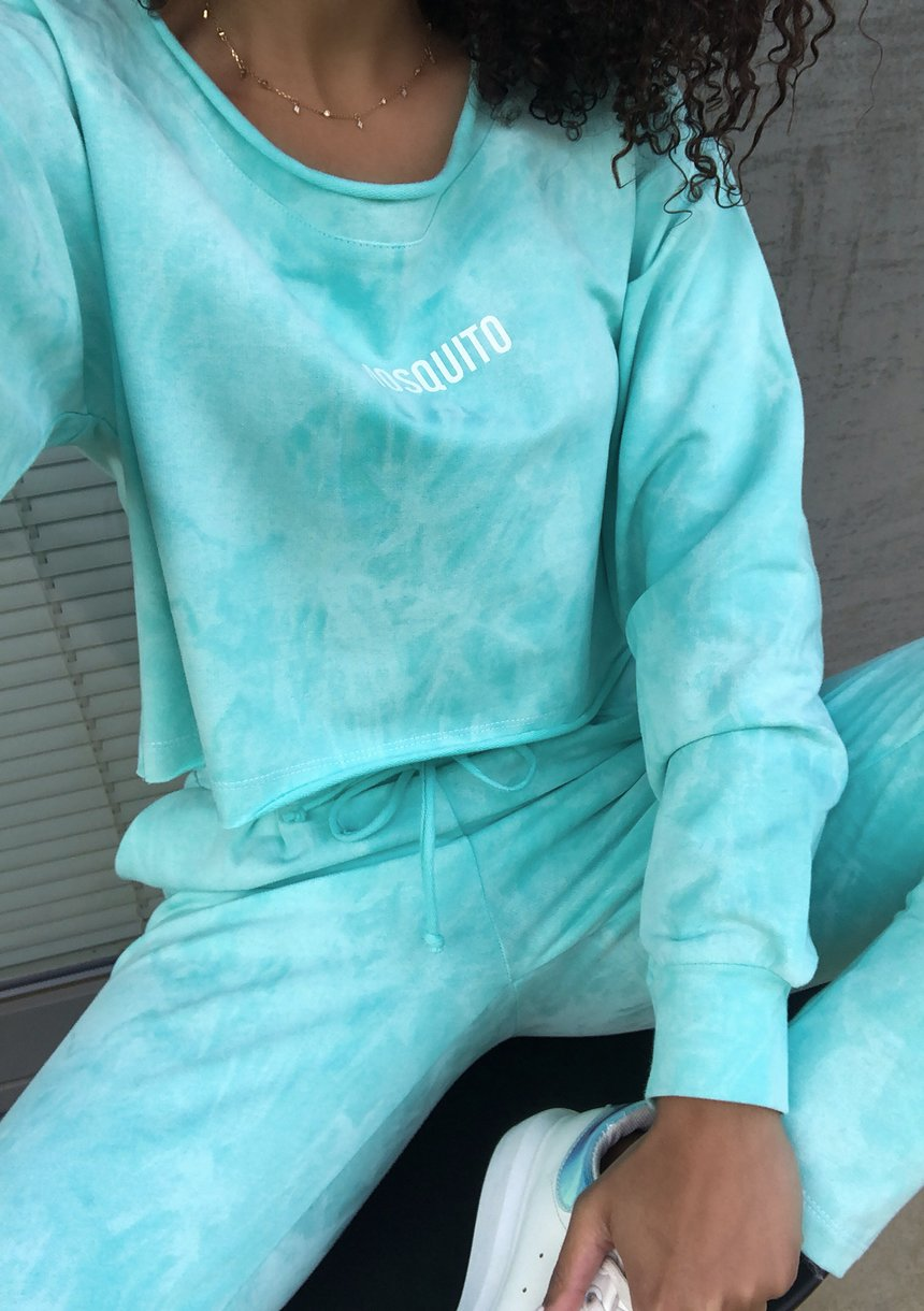 Bluza z efektem sprania Miętowa ILM