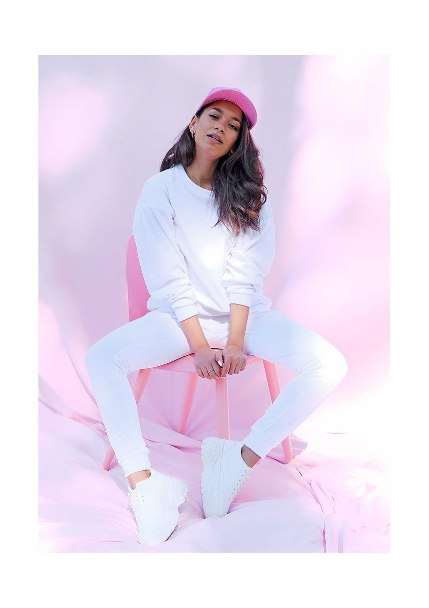 Spodnie z weluru o prostym kroju Białe ILM