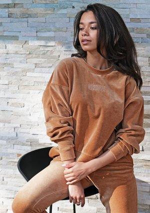 Bluza z weluru z haftowanym logo Miodowa ILM