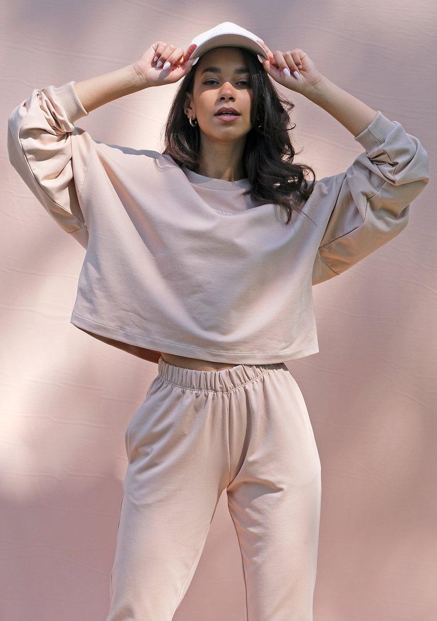 Bluza o luźnym kroju z haftowanym logo warm taupe ILM