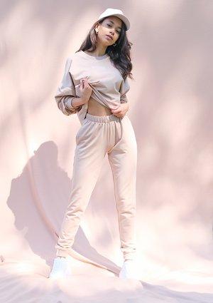 Warm taupe straight cut cotton pants ILM