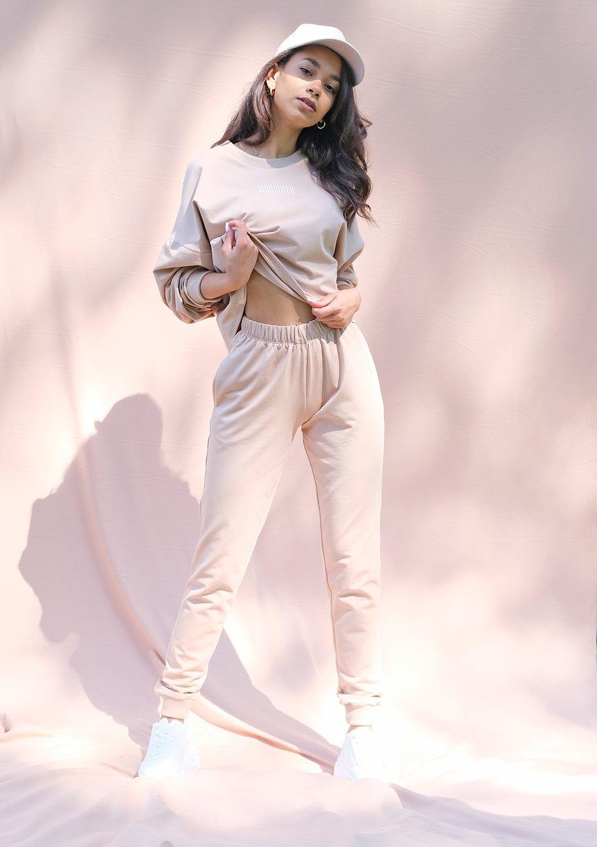 Spodnie dresowe o prostym kroju warm taupe ILM