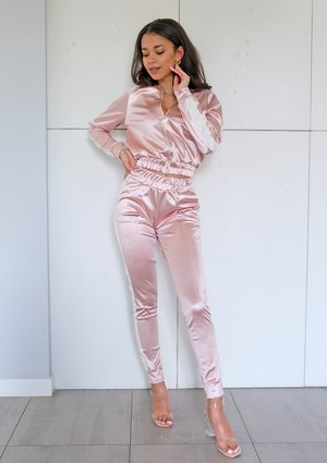 Powder satin pants with side strap