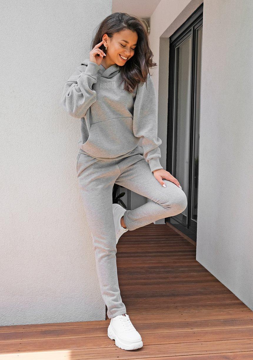 Dresowe spodnie z prostą nogawką Szare ILM