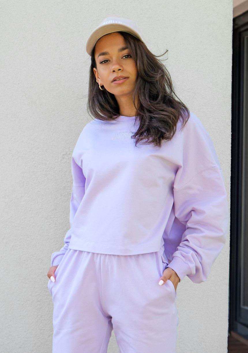 Bluza o luźnym kroju z haftowanym logo Lila ILM
