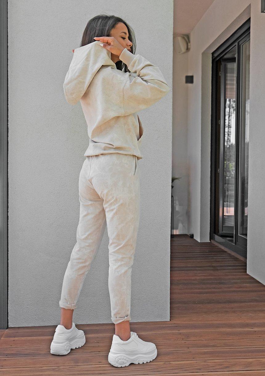 Bluza kangurka z efektem sprania beżowa ILM