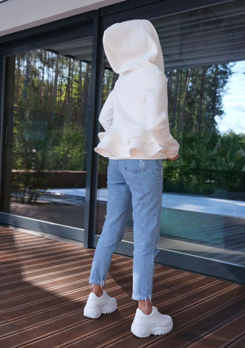 Bluza rozpinana z falbanami Ecrue