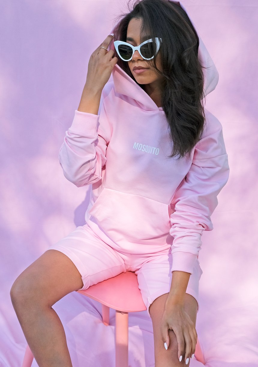 Bawełniana bluza kangurka pink