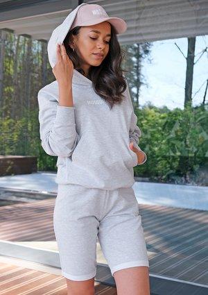 Grey cotton longline shorts ILM
