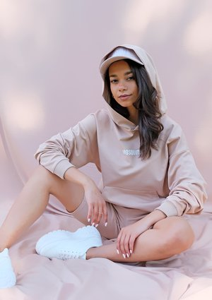 Bawełniana bluza kangurka warm taupe ILM