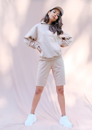 Warm taupe cotton longline shorts ILM