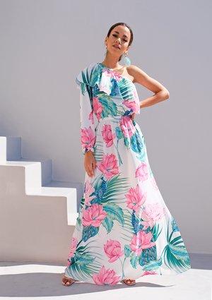 Sukienka maxi z falbaną i jednym rękawem