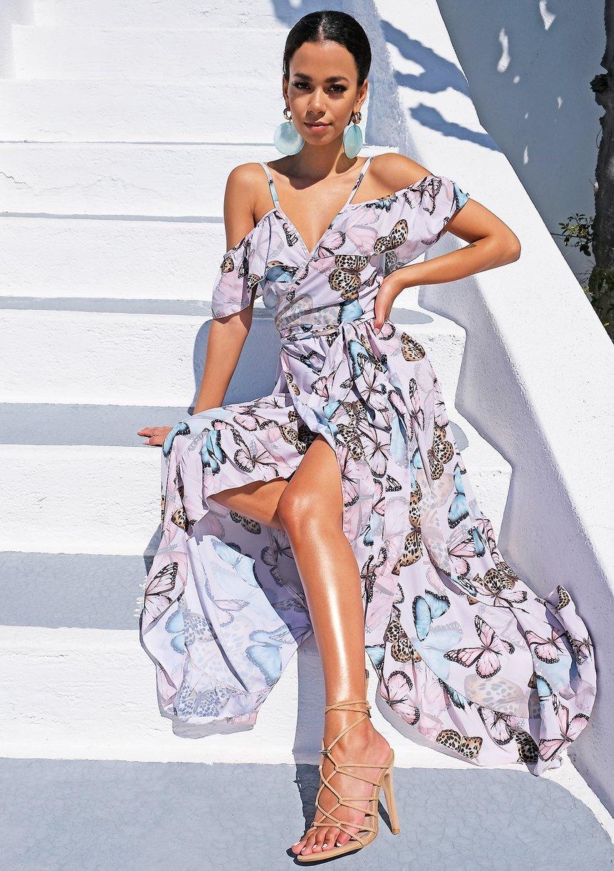 Kopertowa sukienka z falbanami butterfly powder