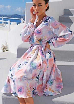 Sukienka w długości midi Satin flowers