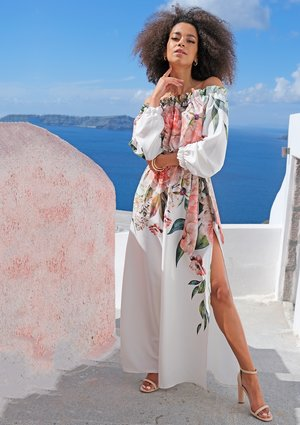 Sukienki maxi z kwiatowym borderem
