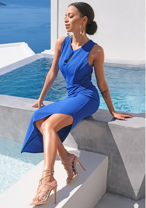 Cobalt dress with asymmetrical bottom