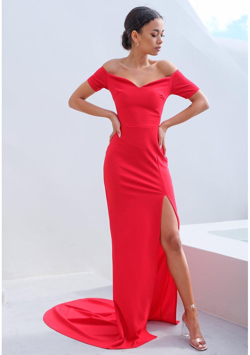 Sukienka maxi z rozszerzonym dołem czerwona