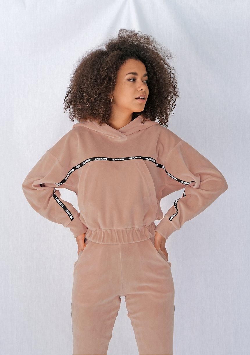 Bluza velvet z lampasami Beżowa ILM