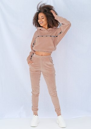 Beige velvet pants with side stripe ILM