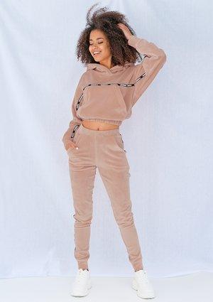 Beige velvet pants with side stripe ILM