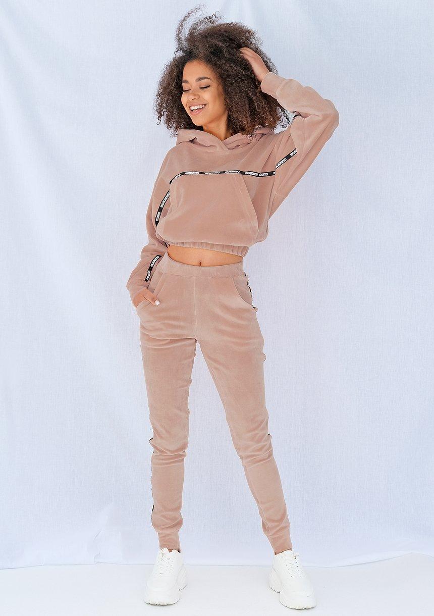 Spodnie velvet z lampasami Beżowe ILM