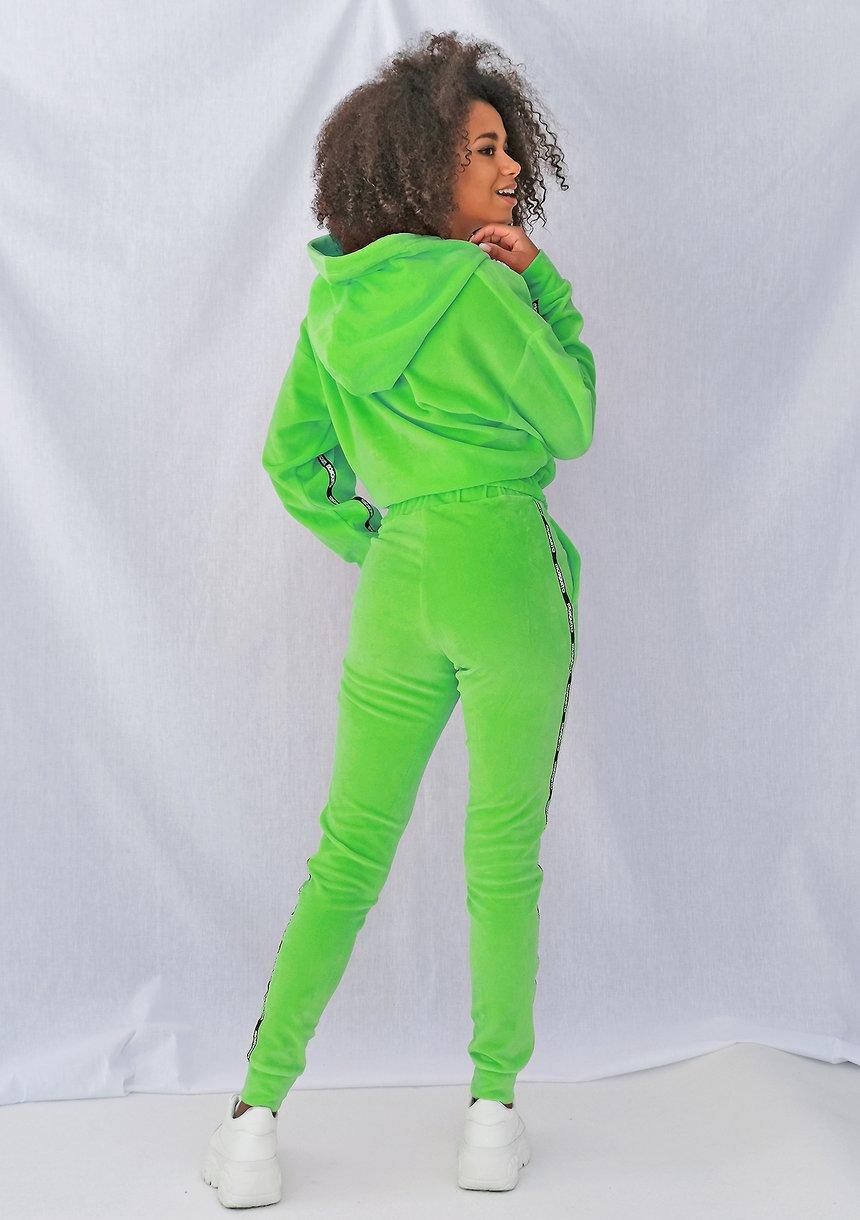 Spodnie velvet z lampasami Neon limonka ILM