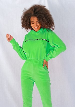 Neon lime velvet sweatshirt with side stripe ILM